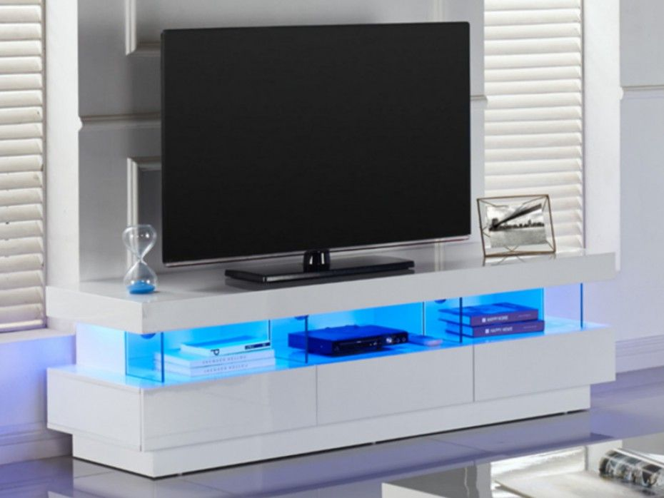 Meuble Tv Fabio Mdf Laque Blanc Leds 3 Tiroirs 3 Niches