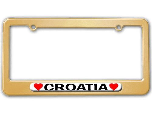 Croatia Love with Hearts License Plate Frame, Gold | License plate ...