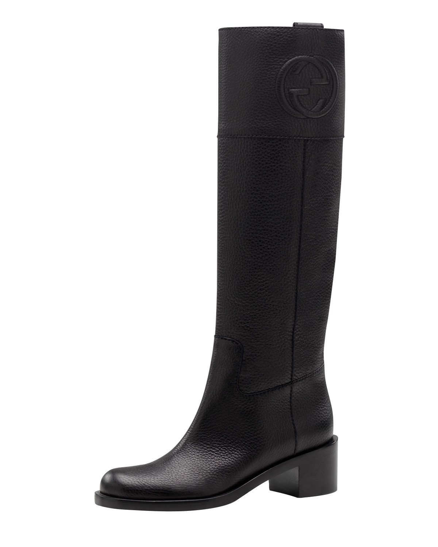 c2e5e9423af0 Gucci Soho Pebbled Leather Riding Boot