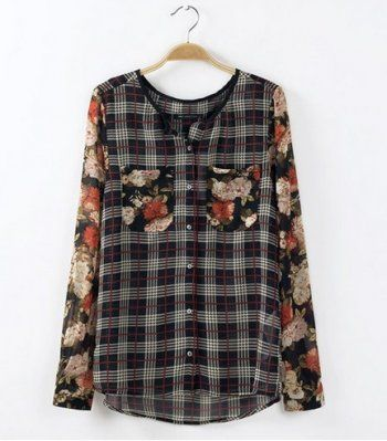 SPRING NEW FASHION FOR WOMEN LONG-SLEEVED O-NECK DOUBLE POCKETS FLORAL PRINTS PLAID BLOUSES CLASSY FEMALE SHIRTS ST164