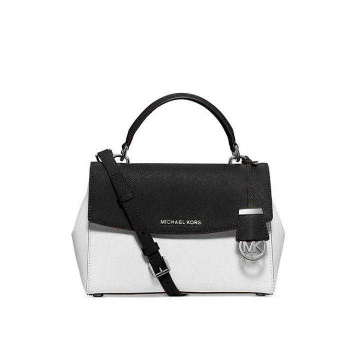 098e0887f2dbe6 MICHAEL Michael Kors Ava Extra-Small Color-Block Saffiano Leather Crossbody  Bag Black/White