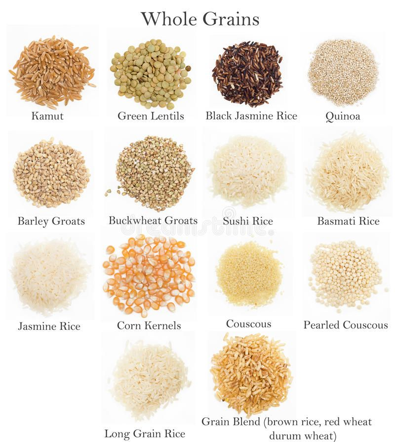 Whole Grains Collection. A collection of whole grains with