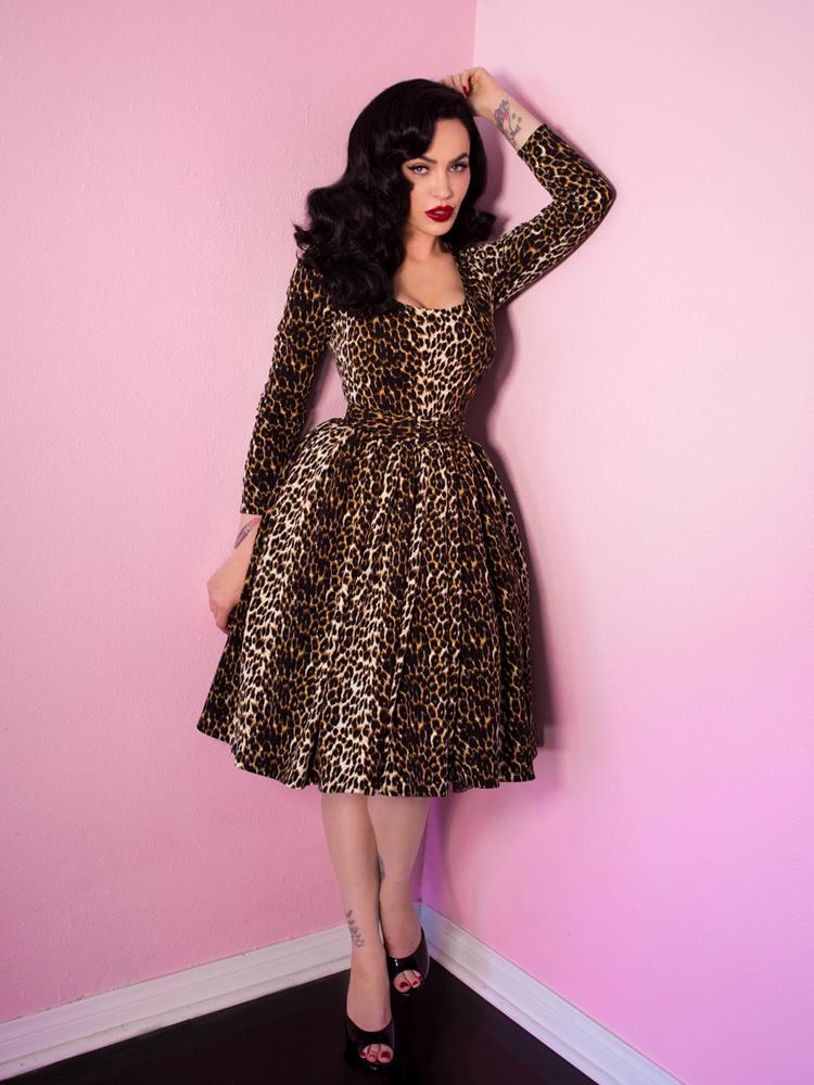 Troublemaker Swing Dress in Leopard Print - Vixen by Micheline Pitt ...