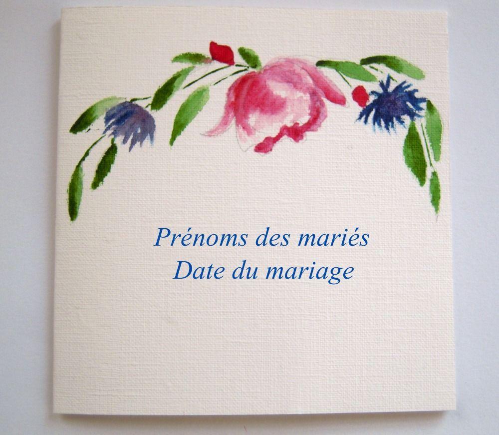 Carte, faire part mariage, format carré, aquarelle rose et bleuets