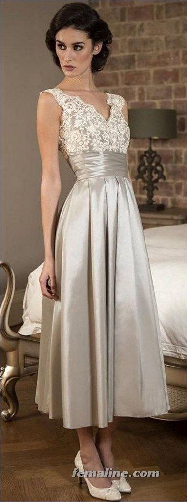 Elegant Tea Length Wedding Dresses Vintage
