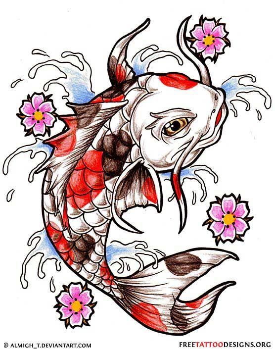 760c971bc661d Koi fish tattoo design with splashing water and cherry blossom ...