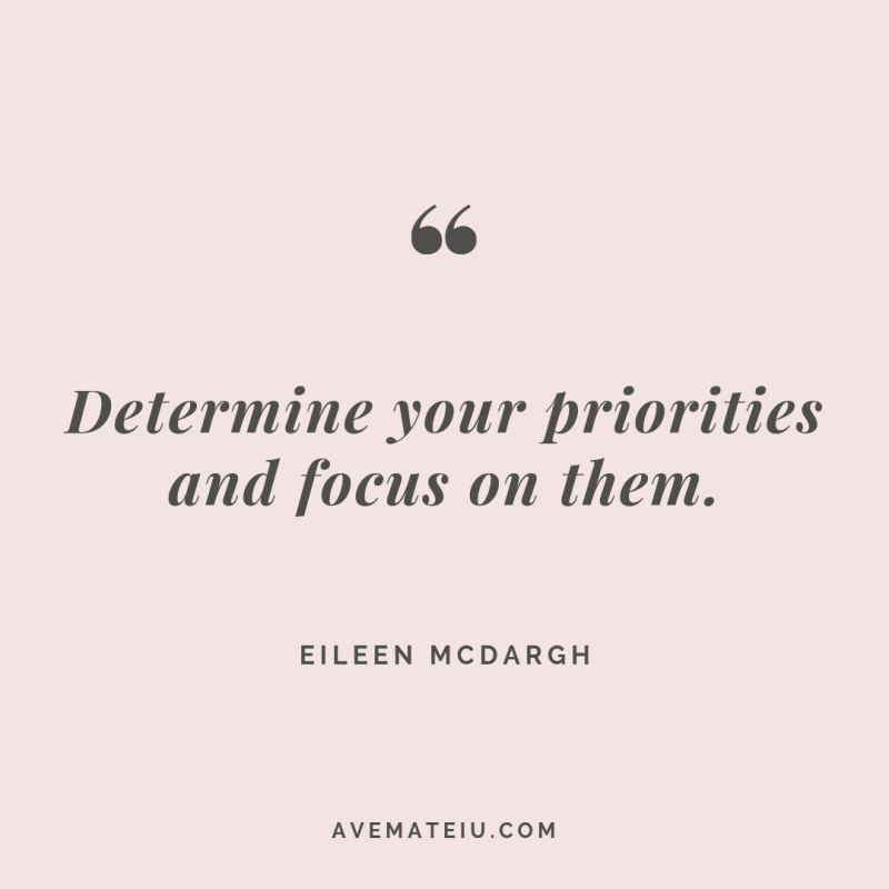 Determine your priorities and focus on them. Eileen McDargh Quote #261 - Ave Mateiu