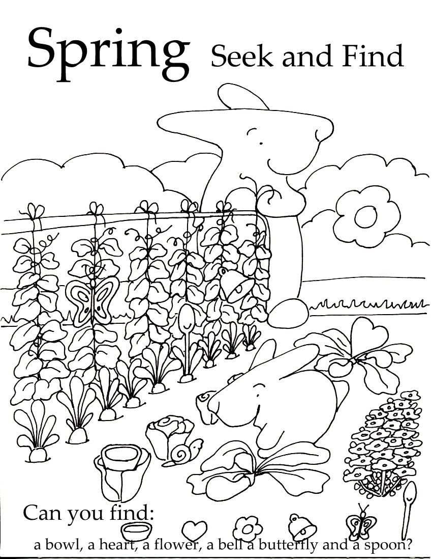 Seek and Finds Spring coloring pages, Hidden pictures