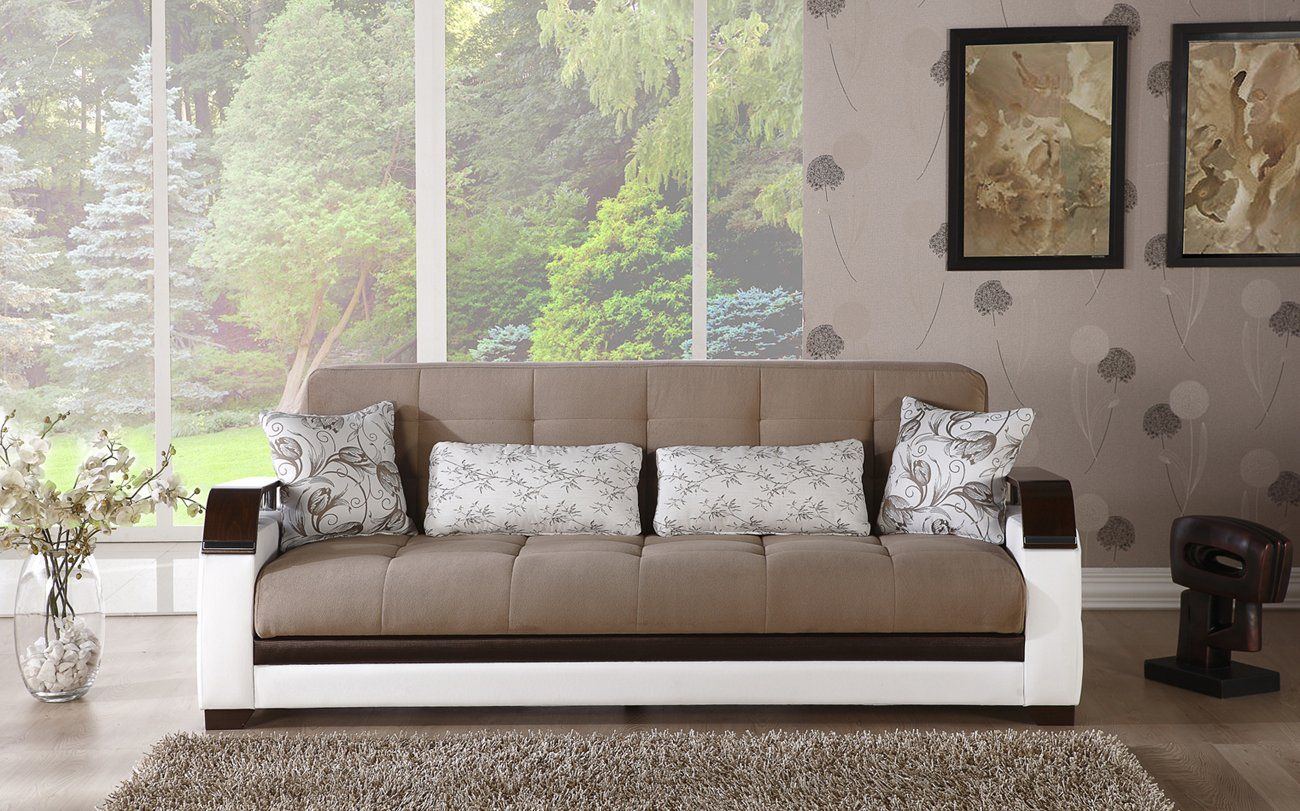 Natural Sofa Set Naomai Light Brown 3 Seat Sleeper and