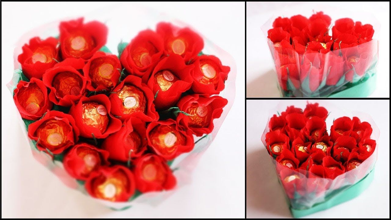 Heart Shape Chocolate Bouquet making | Valentine\'s Day Gift Idea ...