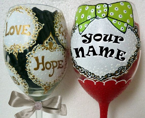 Christmas Personalized Hand Painted  Wine Glass by AlenaShop, $20.99