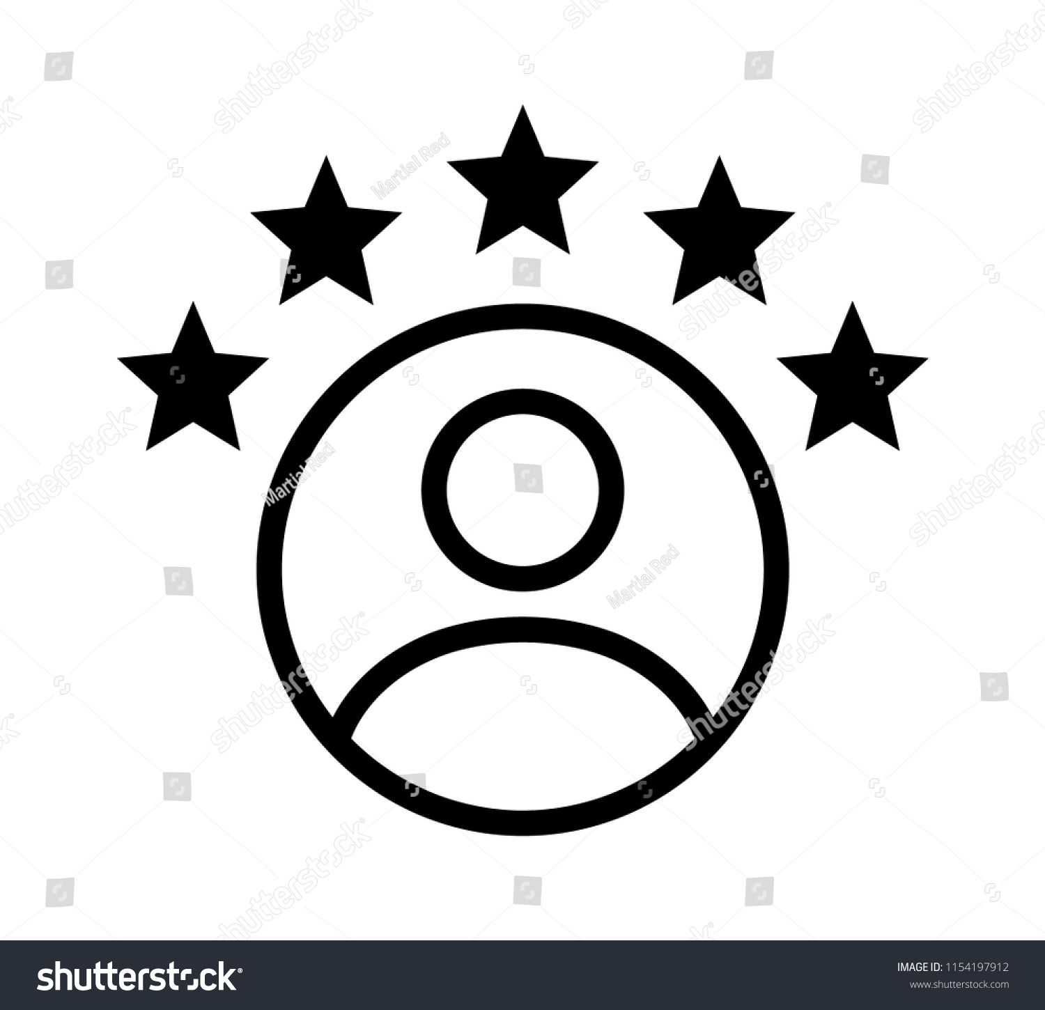 Customer Experience Or 5 Star Satisfaction Rating Line Art Vector
