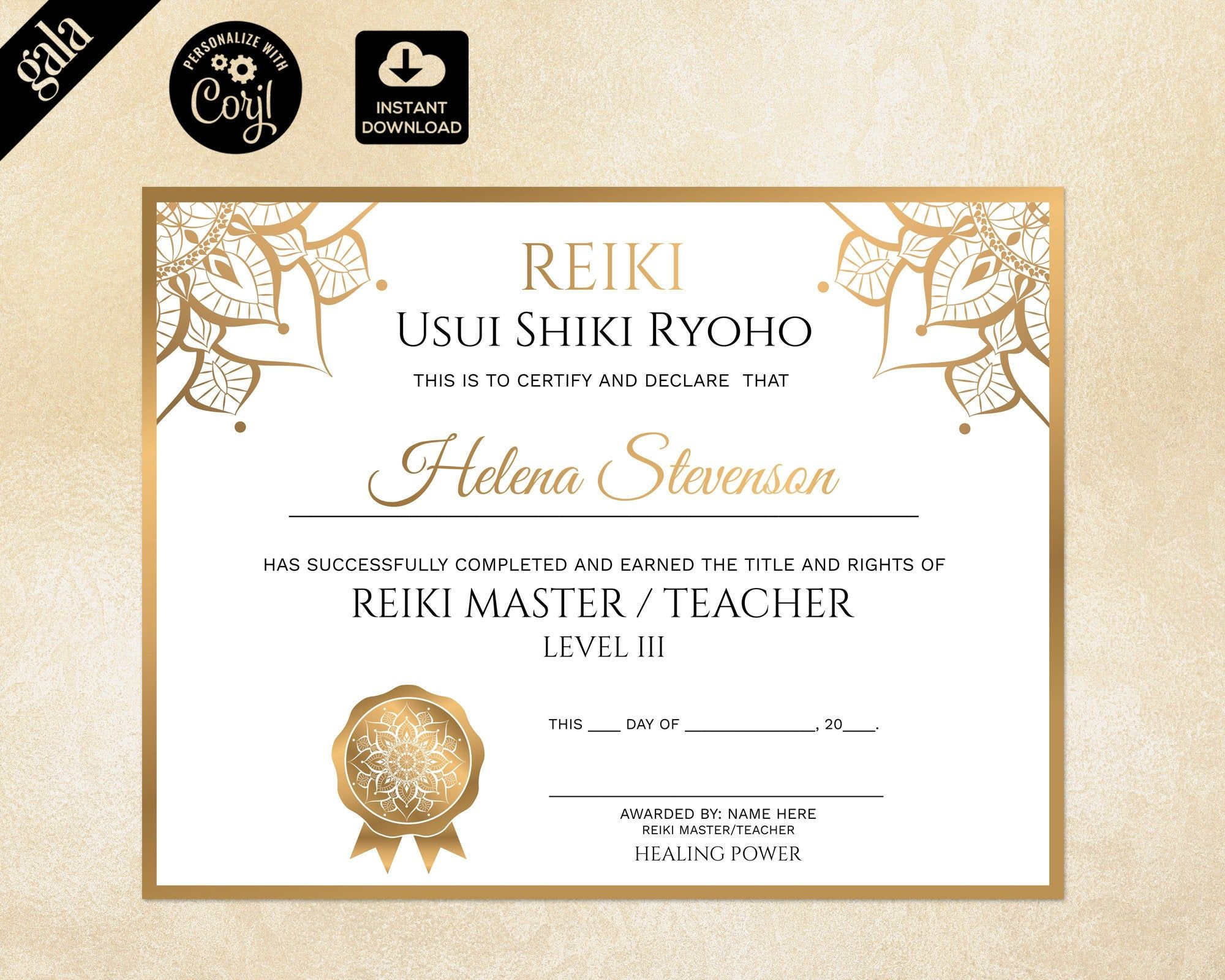 Pin On Diploma Reiki certificate template free download
