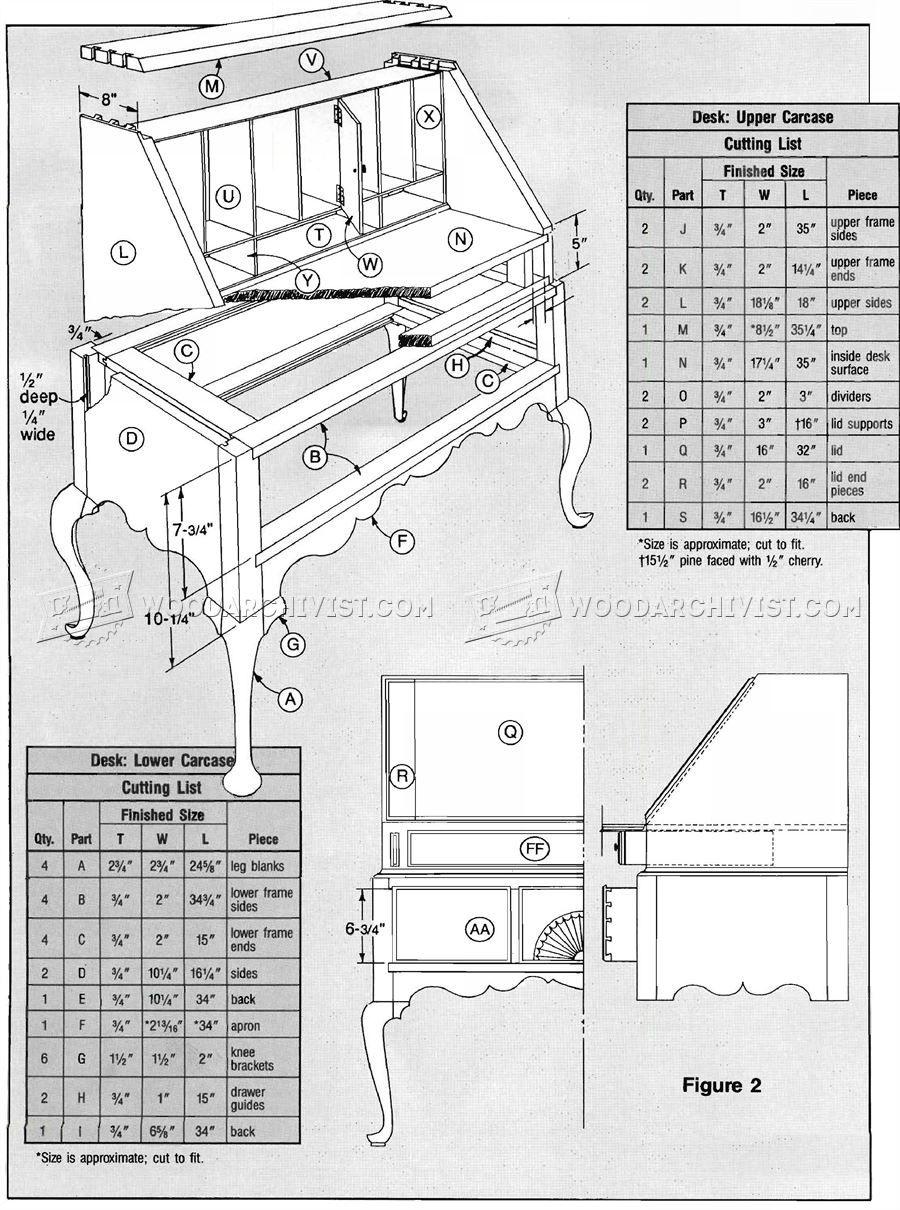 Secretary desk furniture plans - Secretary Desk Plans Furniture Plans
