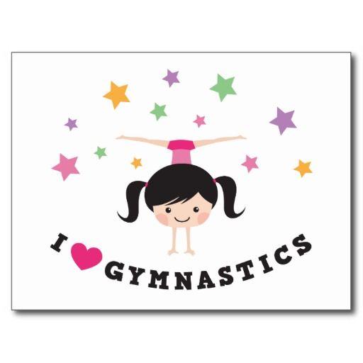 I love gymnastics cartoon girl doing handstand postcard