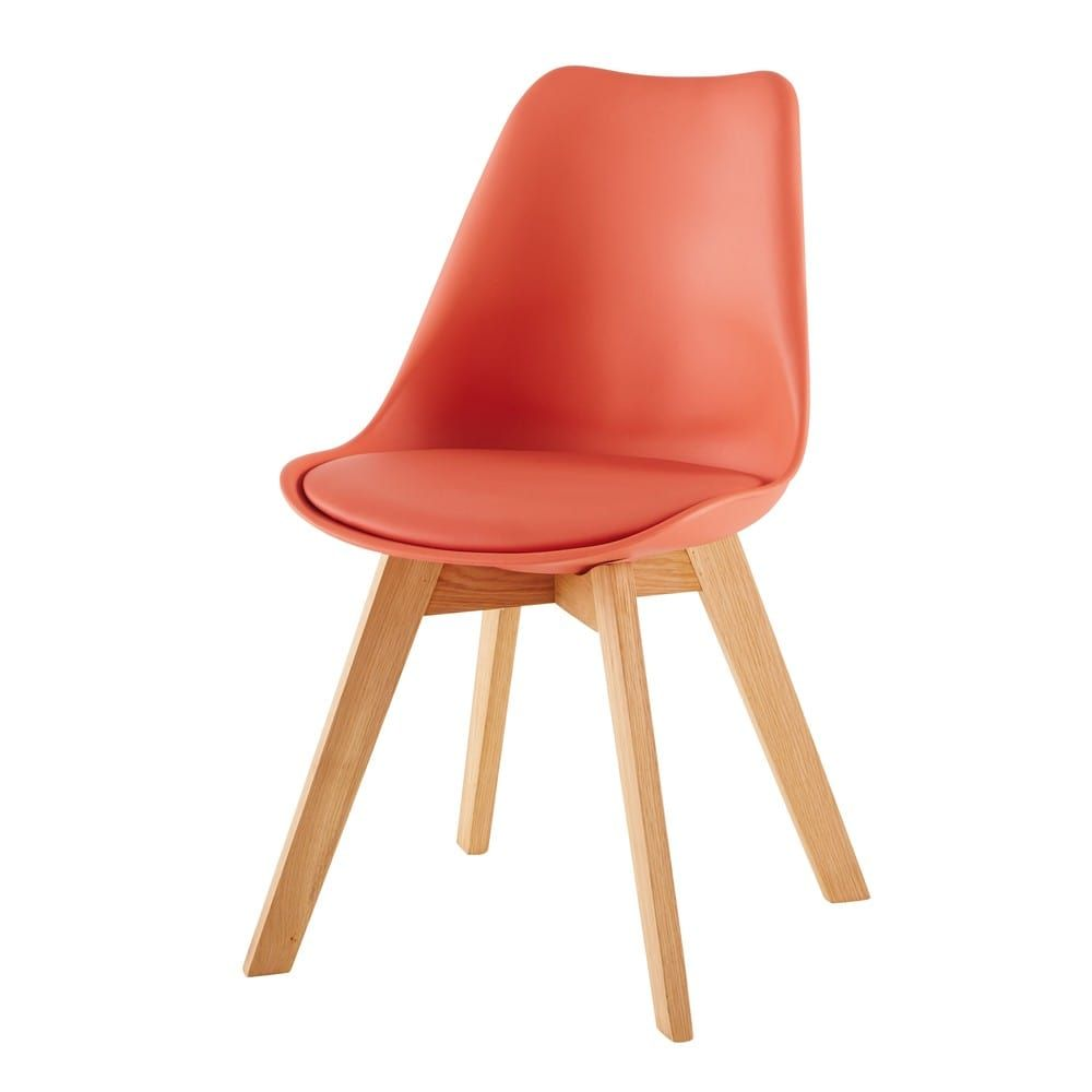 Chaise Style Scandinave Corail Et Chene Massif Ice Chaise Design Couleur Orange Rose Saumon Rose Orange Bois Skandinavische Stuhle Stuhle Skandinavischer Stil