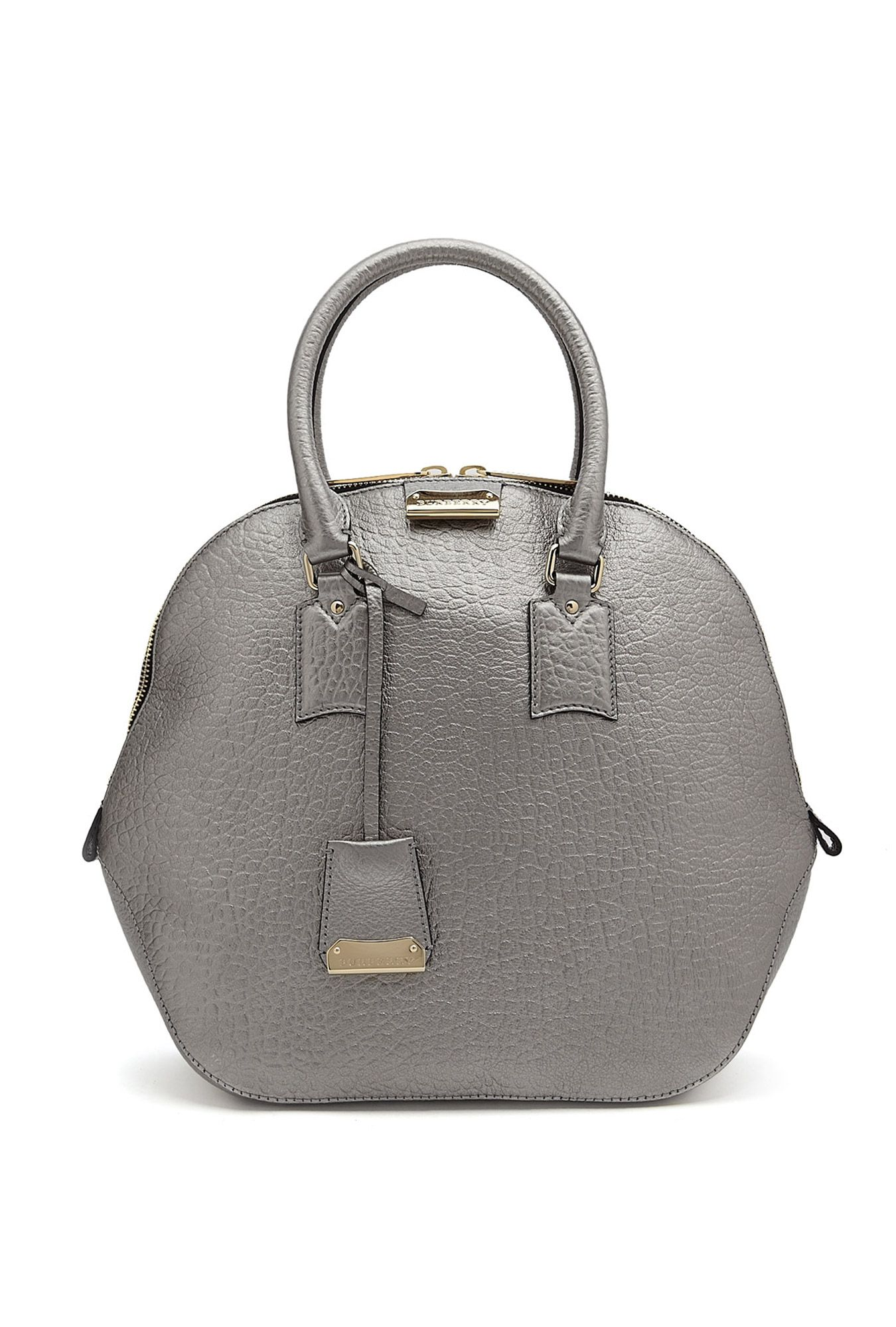 d87e87dcc503 Silver Leather Medium Orchard Bowling Bag by Burberry