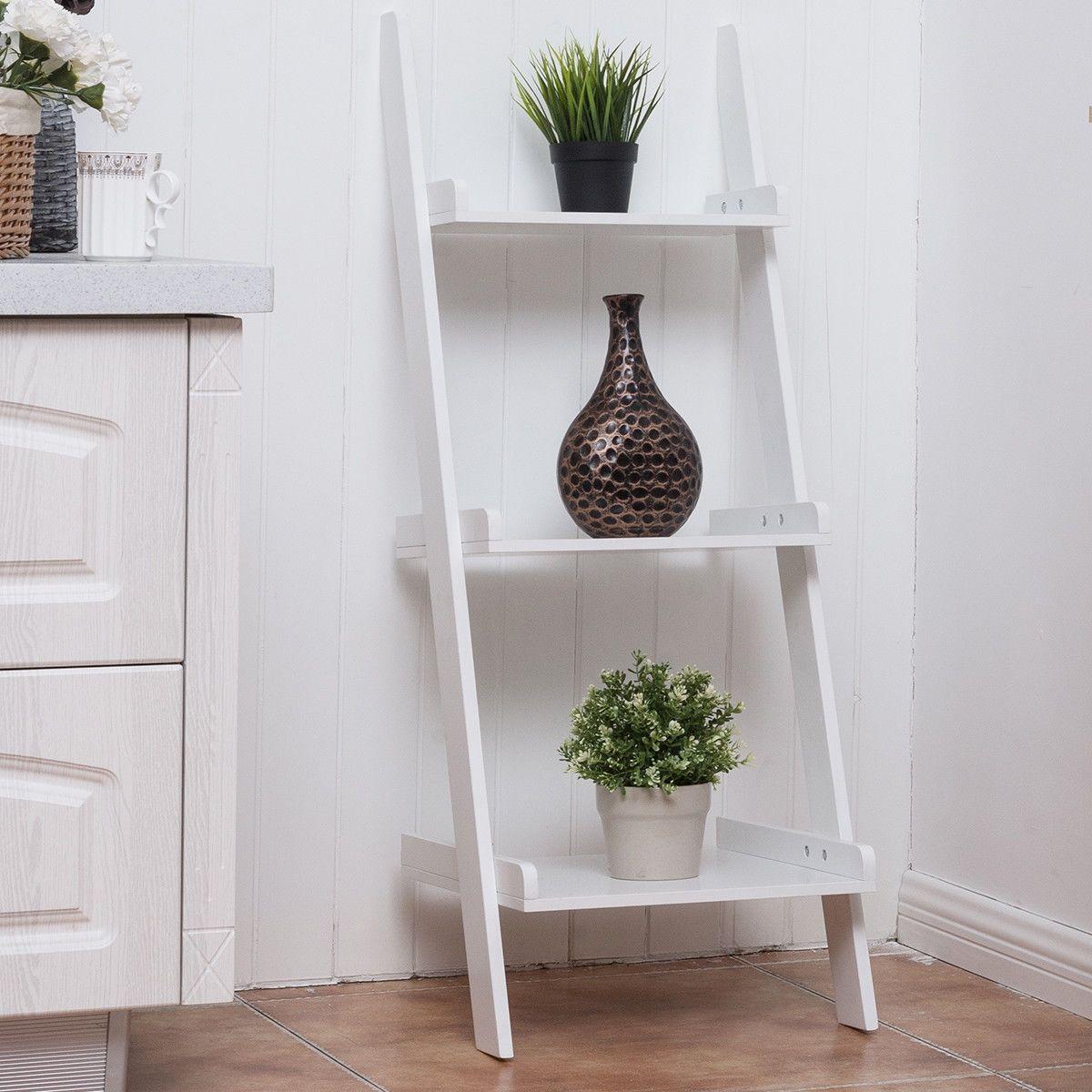 3 Tier Leaning Wall Ladder Display Storage Rack White Bookshelf Bookcase Shelves