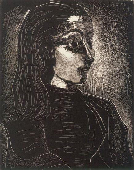 Picasso-Jacqueline de profil-1958