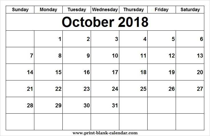 Editable 2018 October Calendar Design Printblank Pinterest