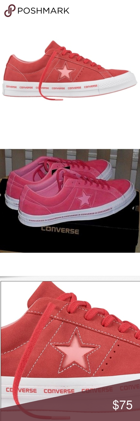 db9c4332f4e0 Converse Men s One Star Pinstripe Low Top Shoes Color  PARADISE PINK GERANIUM  PINK With a premium suede upper and iconic One Star profile