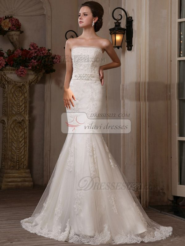 High Couture Incomparable Mermaid Lace Tube Top Sweep Wedding Dresses Online 169 89 Online Wedding Dress Trumpet Style Wedding Dress Wedding Dresses