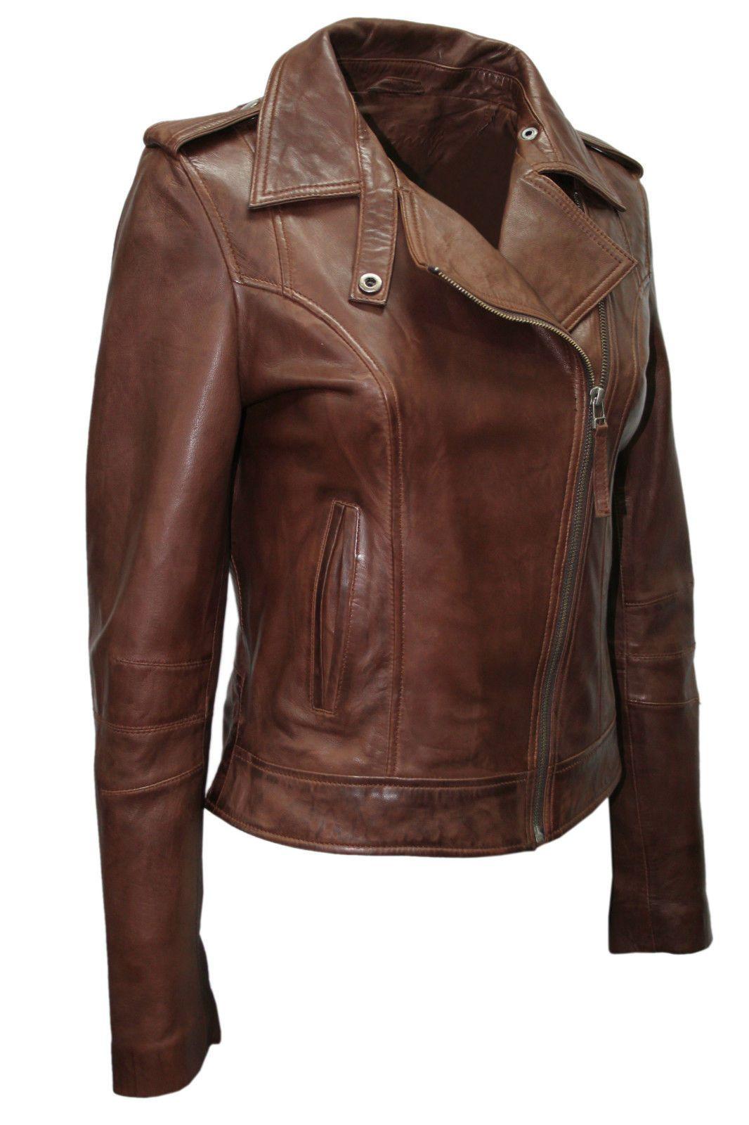 Details about Ladies Women's BRANDO Brown Fashion Biker