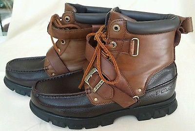 Polo Ralph Lauren Brown 2 Tone Leather Boots Zig Zag Ii Buckle