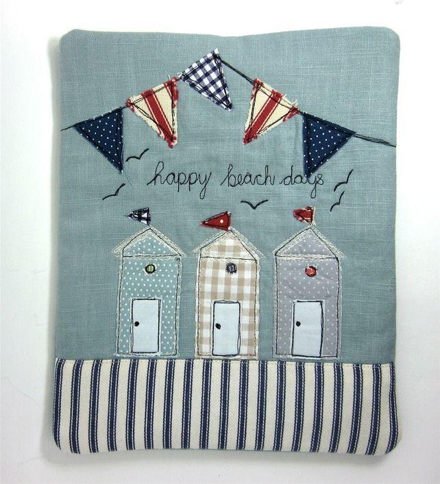 Beach Hut Machine Embroidery Design: IPad Cover, IPad Case Beach Huts And Bunting