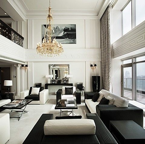 Black And White Home Decor And Interior Design Ideas Dazzling Design Projects From Lighting Genius Delightfull Http High Ceiling Living Room Home Interior