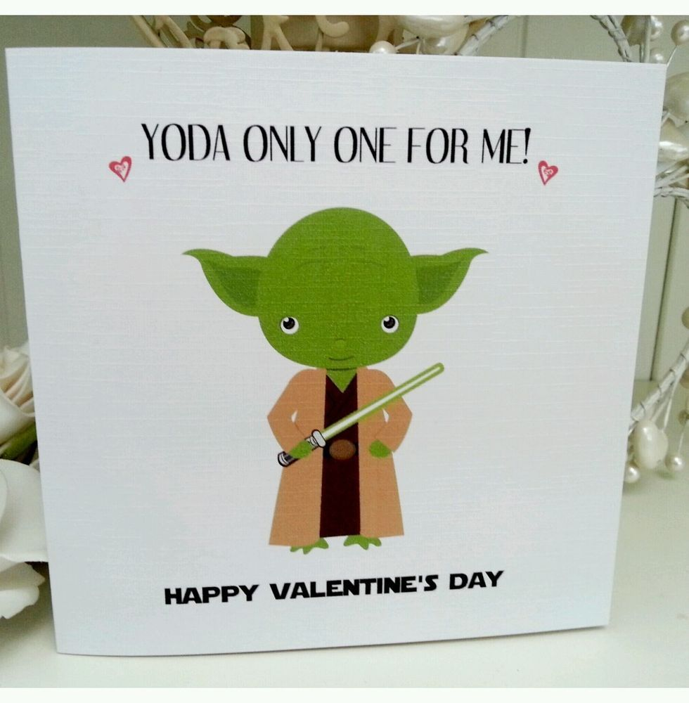 Funny Star Wars Yoda Handmade Anniversary/Engagement/Valentine Card.