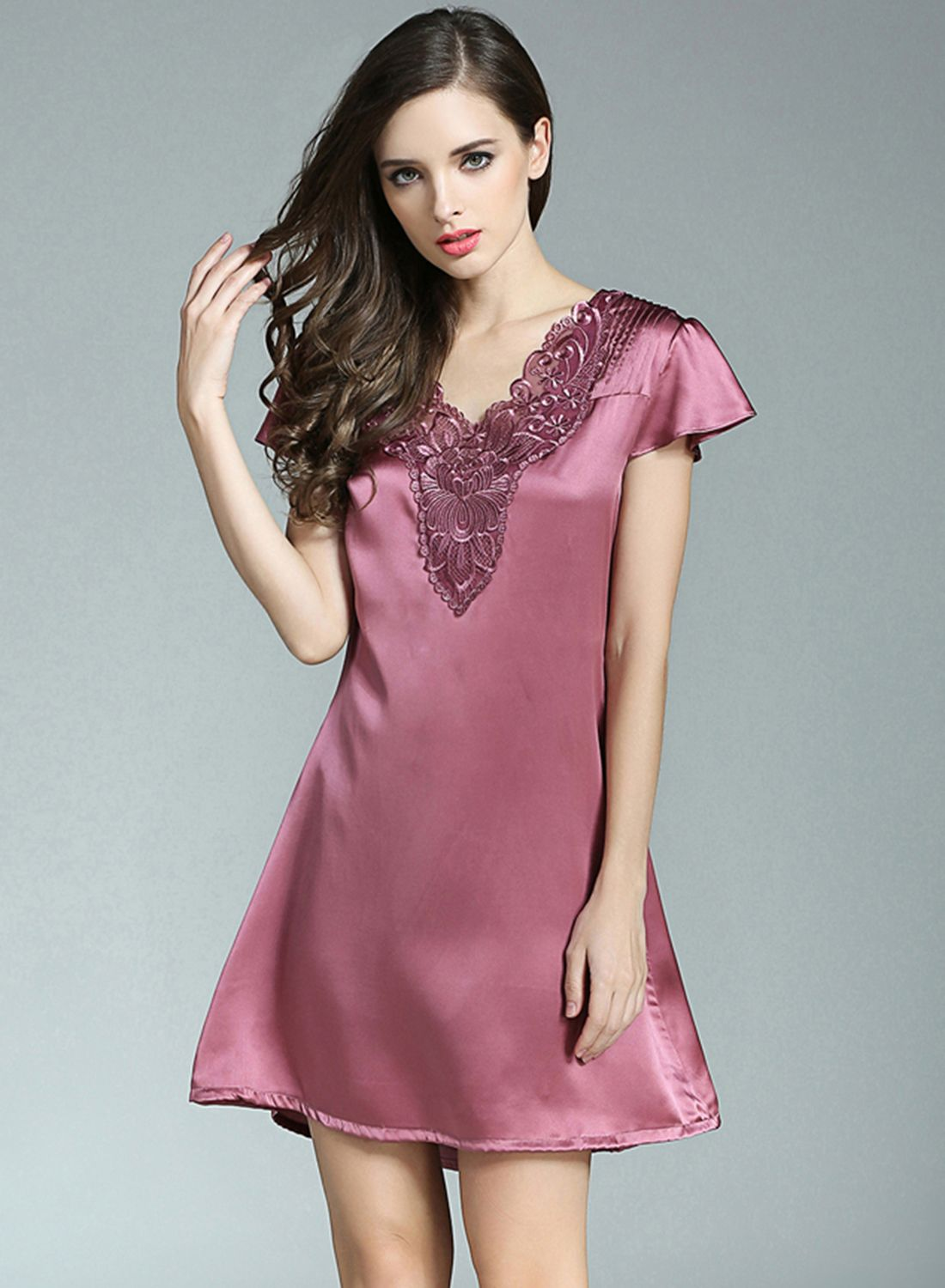 Womenus v neck pure mulberry silk nightgown fancysilksleepcom