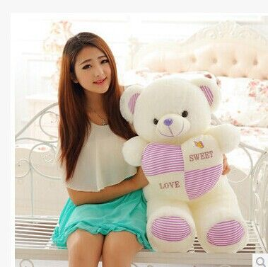 lovely plush purple stripes bear toy stuffed teddy bear toy hold heart gift doll about 90cm //Price: $US $37.79 & FREE Shipping //     #toyz24