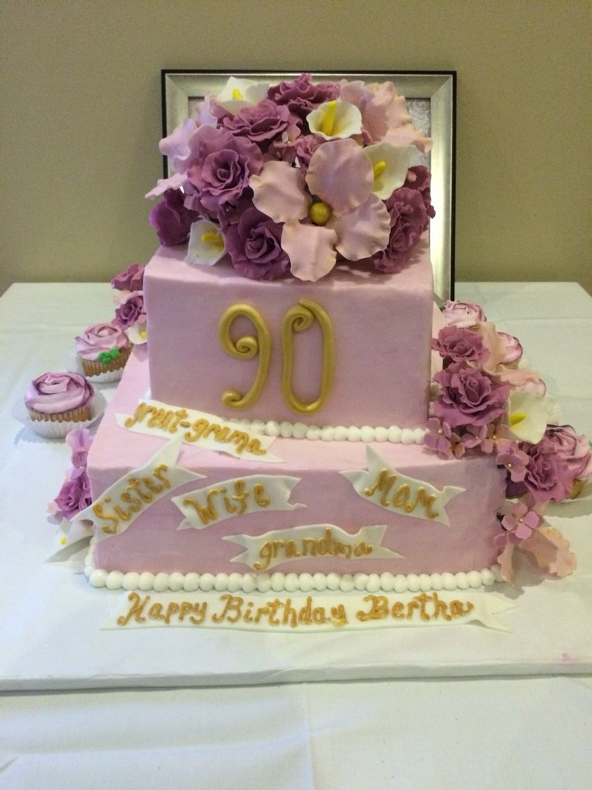 90th birthday cake Flowers handmade edible and made of fondant