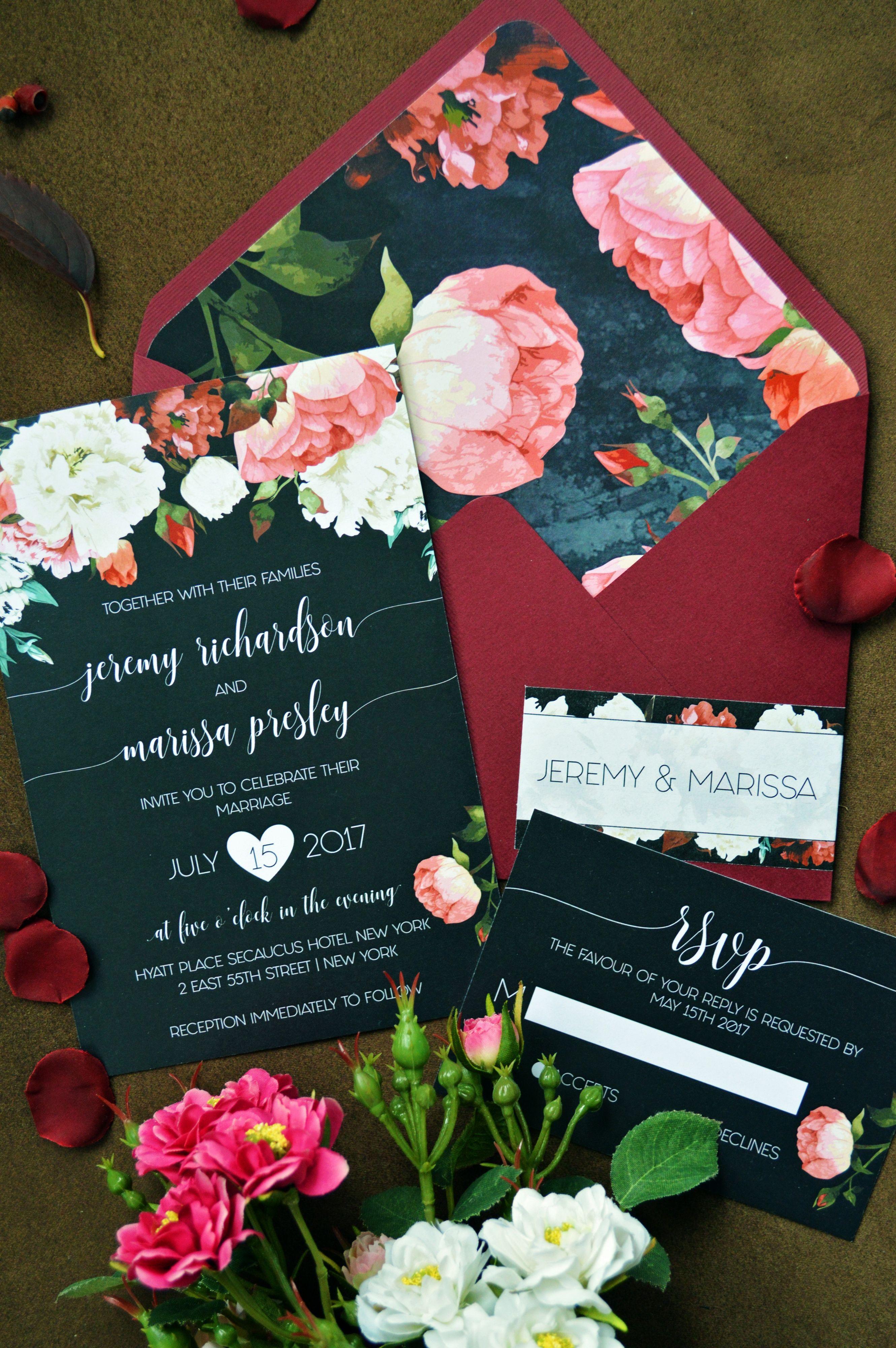 Marsala Black Invite Floral Wedding Invitations Flower
