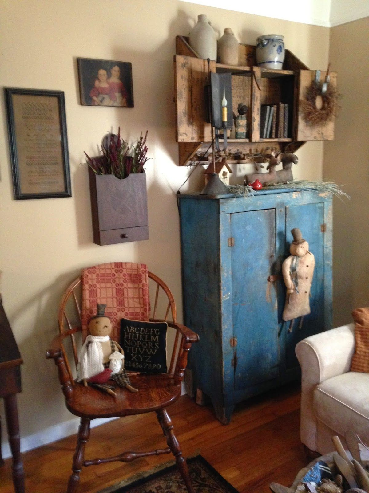 Primitive Country Living Room Decorating Ideas: Green Creek Primitives: MY WINTER HOME