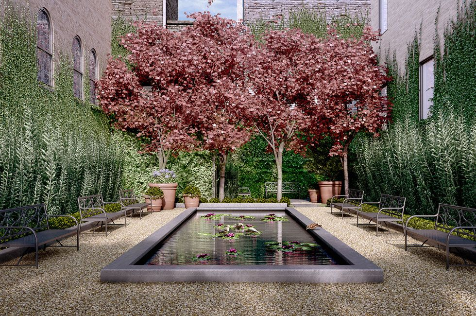 Private Frenchstyle courtyard garden http