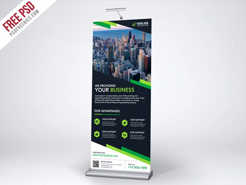 Free Psd Multipurpose Creative Roll Up Banner Template Psd Pull Up Banner Design Banner Template Free Psd