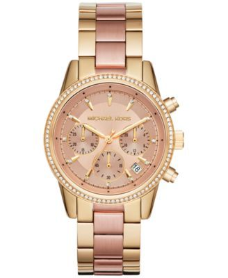 7fe255579c8f Michael Kors Women s Chronograph Ritz Two-Tone Stainless Steel Bracelet  Watch 37mm MK6475