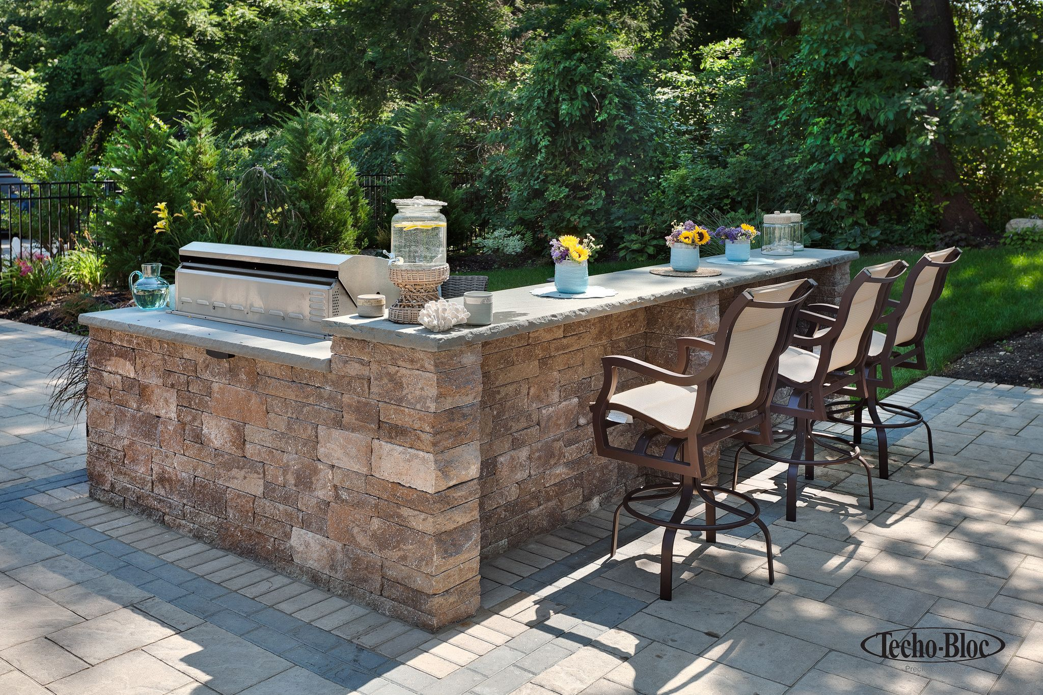 Outdoor Grill Island with Bar  Outdoor kitchen bars, Backyard