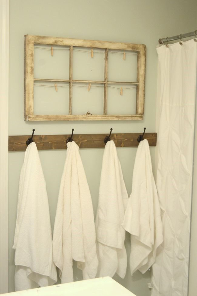Rustic Towel Hooks In Guest Bathroom