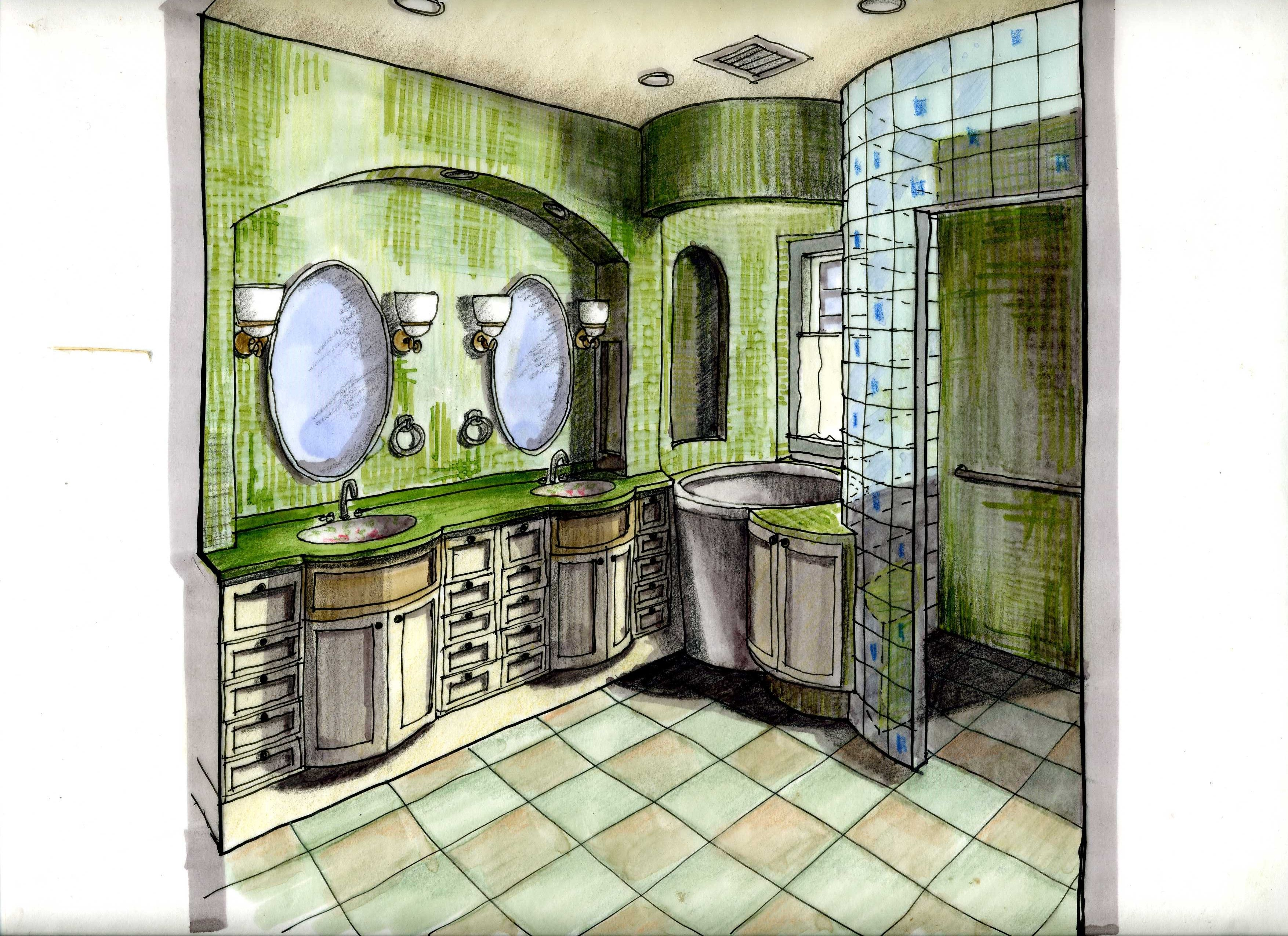 Bathroom hand rendering anou mirkine offers a variety of - Hand drafting for interior design ...