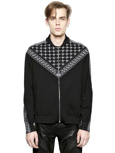 563997fce Givenchy Zip Up Keffiyeh Jacquard Wool Sweater on shopstyle.co.uk Mens  Shawl Collar