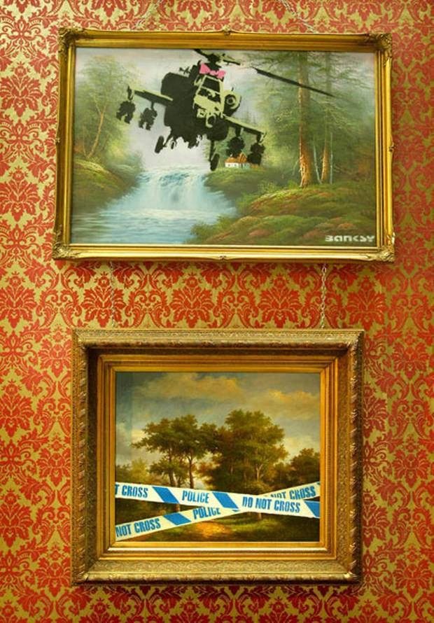 Clic Oil Paintings Painted Over By Banksy Were Also Part Of The Turf War Independent