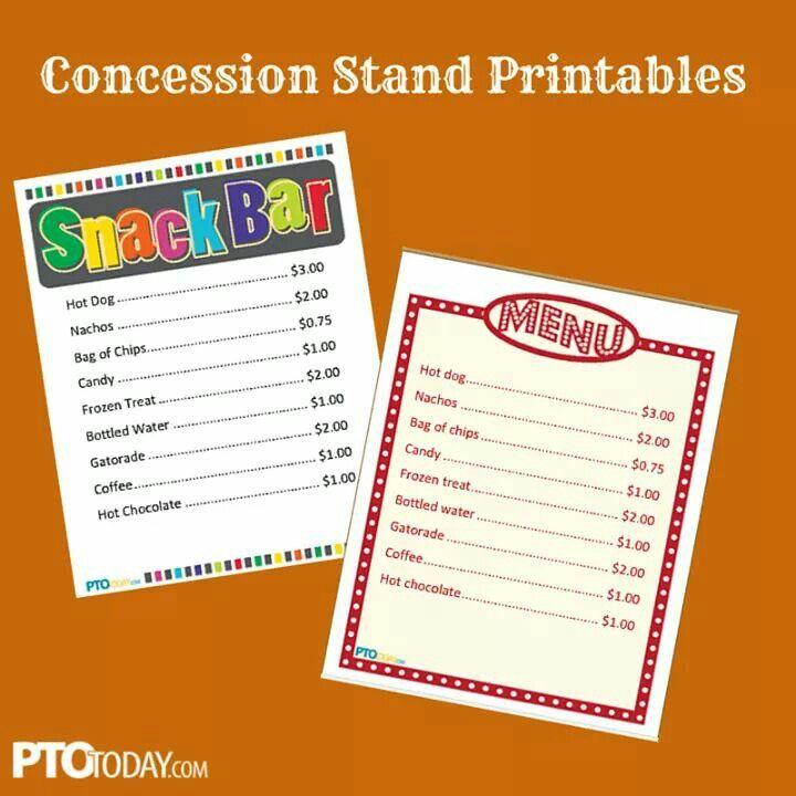 Pto Menu Concession Stand Food Concession Food