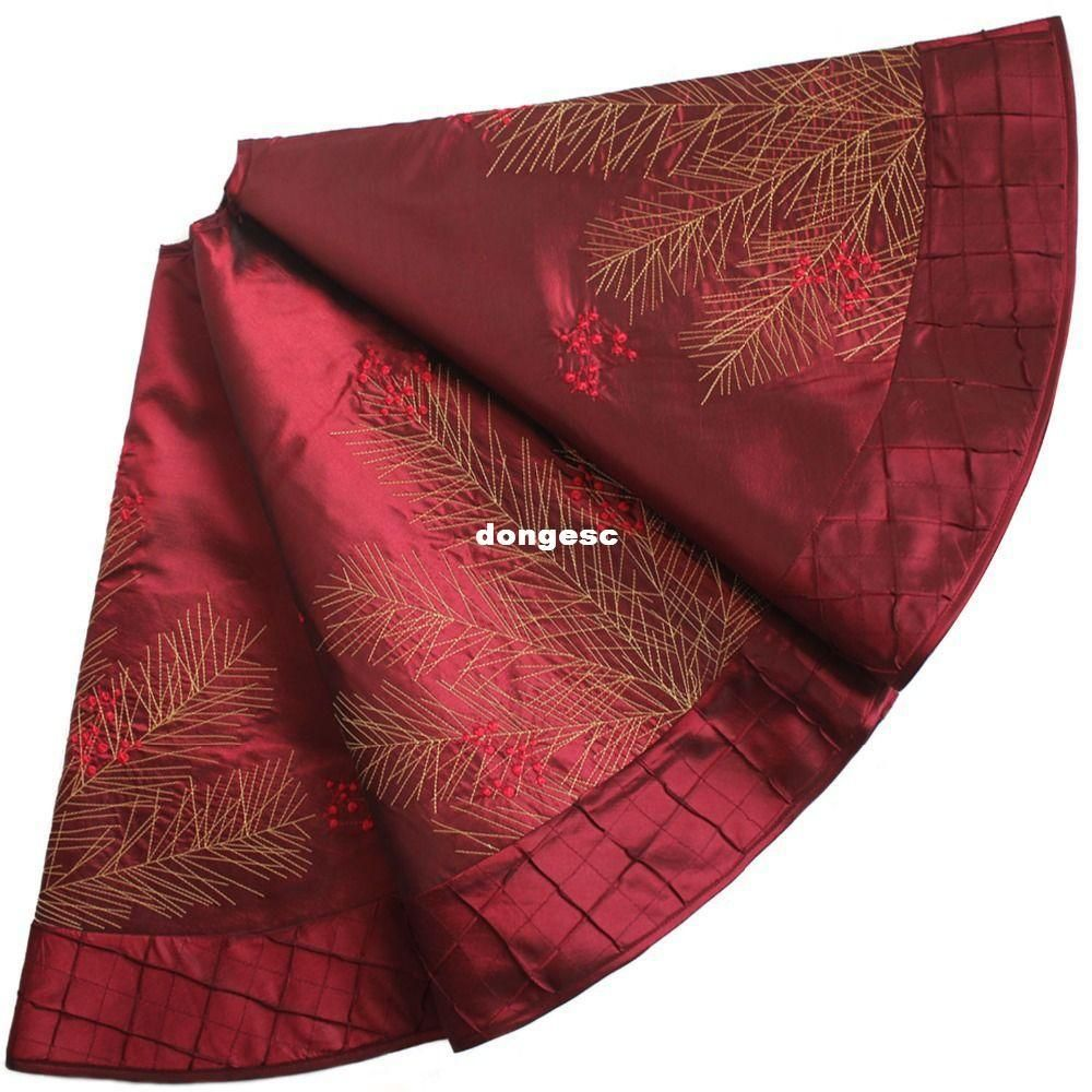 choosing wholesale extra large 50 christmas decoration berry embroidered deluxe christmas tree skirt pintuck border burgundy online