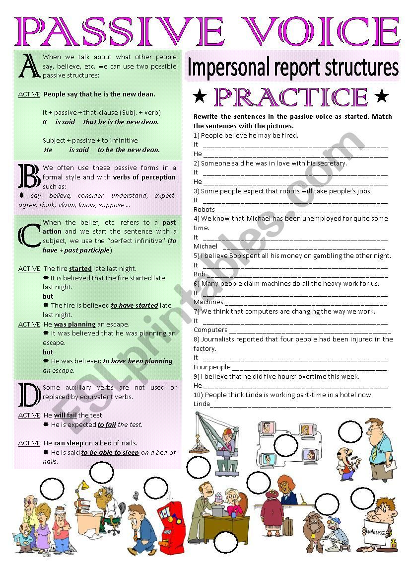 This Ws Includes A Grammar Guide And Practice On Impersonal Passive Structures Hope It S Useful H Passive English Teaching Materials Teaching English Grammar [ 1169 x 826 Pixel ]