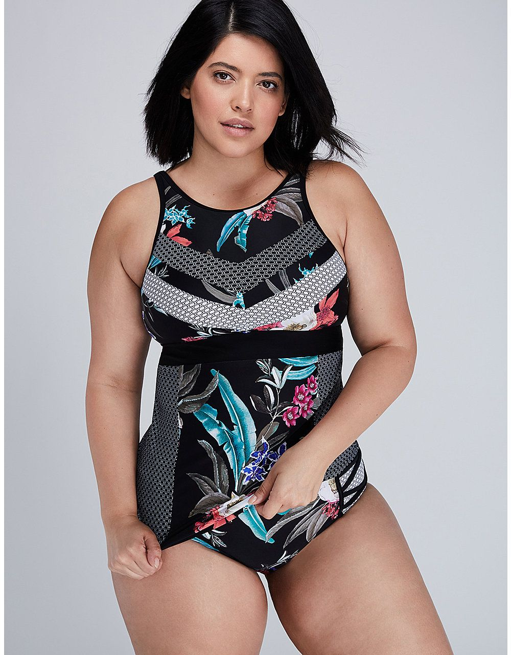 302baa04492 Mixed-Print High-Neck Swim Tank with Built-in No Wire Bra
