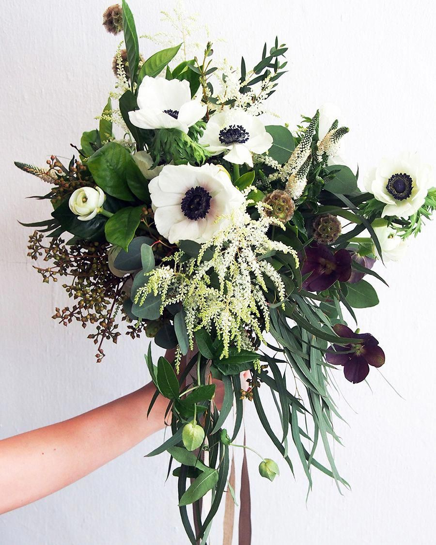 White And Green Bridal Bouquet For A Clean And Green Look With