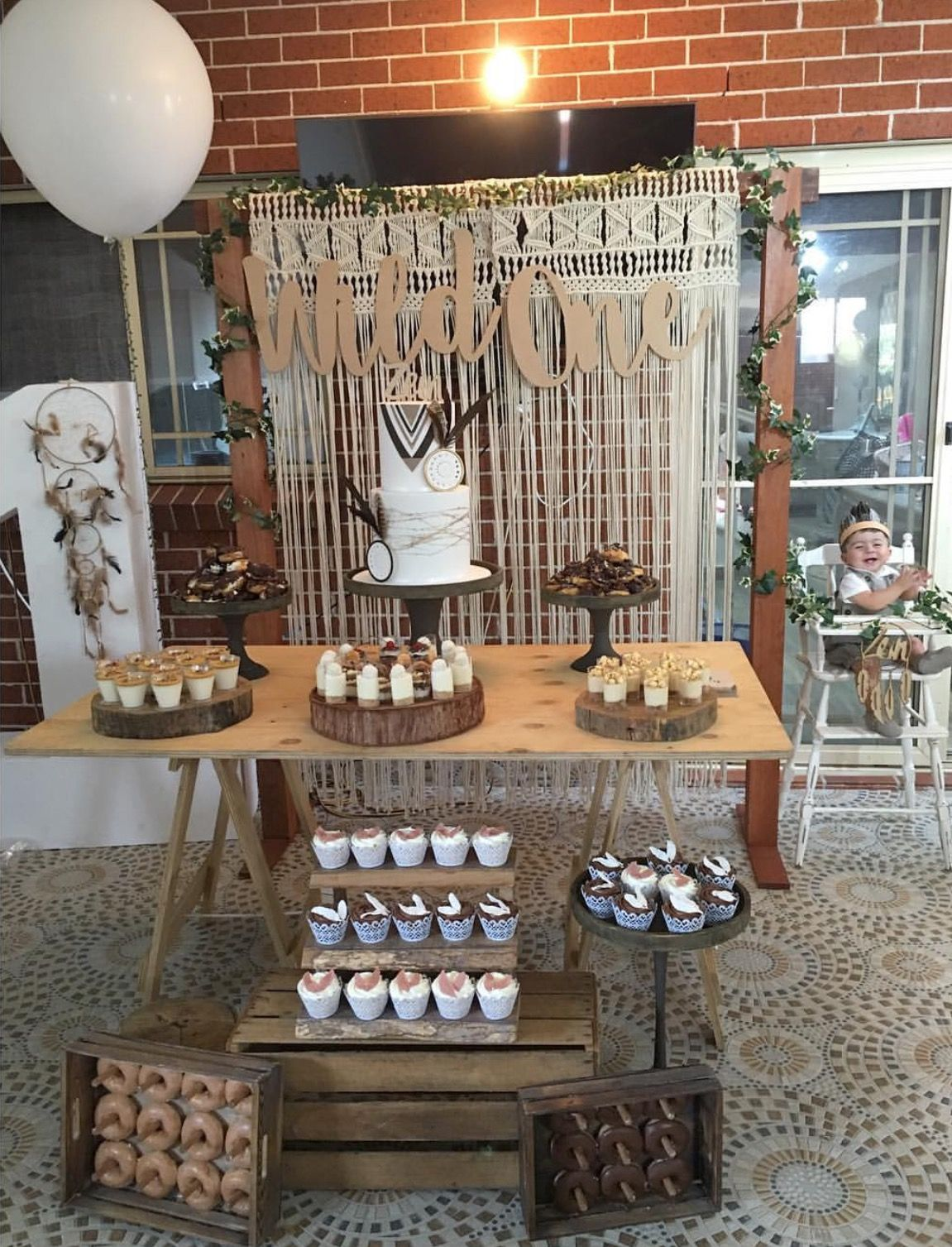 Wild one diy styling using all our rustic props trestle for Table design for 1st birthday